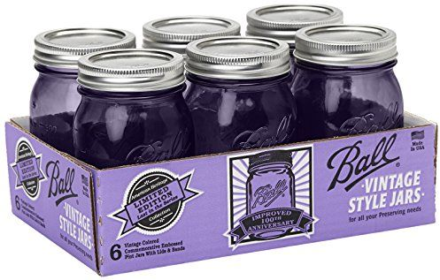 Ball Jar Ball Heritage Collection Pint Jars with Lids and Bands, Purple, Set of 6 $7.64 (reg. $28.35)