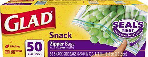 Glad Food Storage Bags, Zipper Snack, 50 Count $1.39 (reg. $1.69)