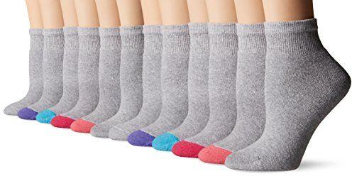 Fruit of the Loom Women's 12 Pack Premium Soft Spun Ankle Socks, Grey/Multi Heel-Toe, Shoe: 4-10 $14.99 (reg. $19.99)