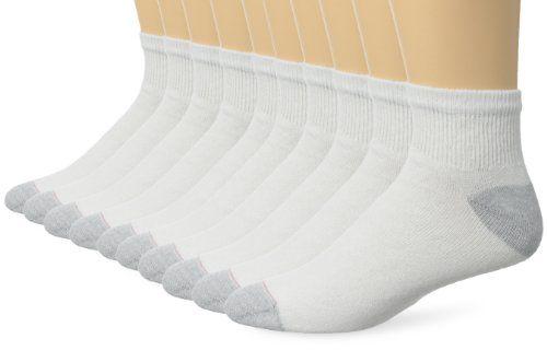 Hanes Men's 10 Pack Ultimate Ankle Socks, White, 10-13 (Shoe Size 6-12) $9.99 (reg. $24.00)