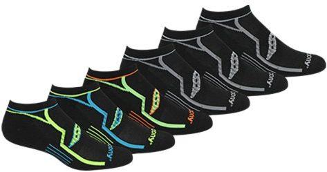 Saucony Men's 6 Pack Performance No Show Socks, Black Asst, 10-13 Sock/8-12 Shoe $10.99 (reg. $18.00)