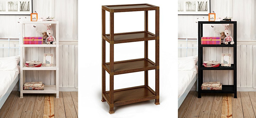 Way Basics Westminster 4 Tier Eco Friendly Open Bookcase and Storage Shelf - White (made from sustainable non-toxic zBoard paperboard)