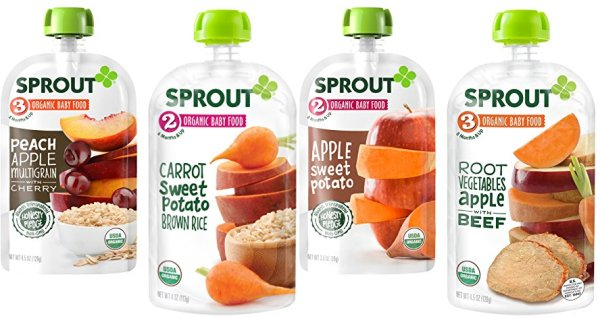 Sprout Organic Baby Food Stage 3 Pouches, Peach Apple Multigrain with Cherry, 4.5 Ounce (Pack of 5)