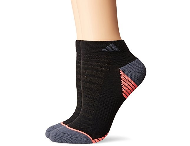 adidas Women's Superlite Speed Mesh Low Cut Socks (2 Pack), Black/Onyx/Flash Red, Medium $9.99 (reg. $14.00)