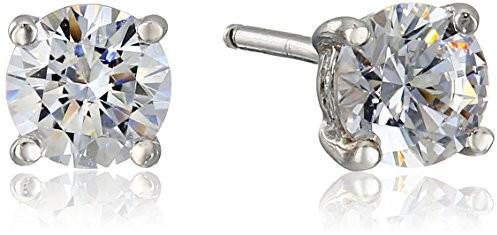 Platinum-Plated Sterling Silver Swarovski Zirconia Round Stud Earrings (1 cttw) $9.49 (reg. $24.00)