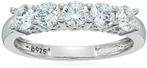 Platinum-Plated Sterling Silver Swarovski Zirconia Round-Cut 5 Stone Ring (1.25 cttw), Size 6 $12.53 (reg. $24.00)