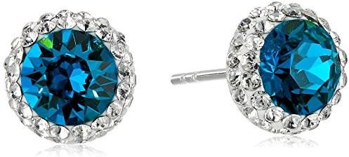 Sterling Silver Swarovski Crystal Halo Turquoise Stud Earrings $17.90 (reg. $23.67)