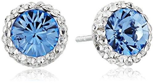 Sterling Silver Swarovski Crystal Halo Blue Stud Earrings $17.61 (reg. $23.24)