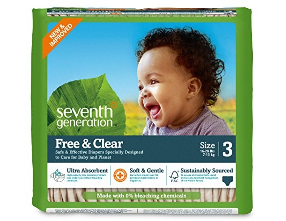 Seventh Generation Baby Diapers, Free and Clear for Sensitive Skin, Original Unprinted, Size 3, 155 Count $56.16 (reg. $60.00)