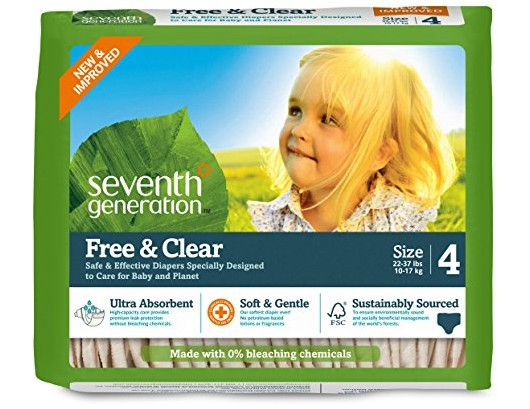 Seventh Generation Baby Diapers, Free and Clear for Sensitive Skin, Original Unprinted, Size 4, 135 Count $46.63 (reg. $60.00)