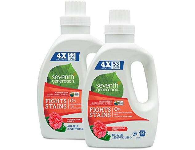 Seventh Generation Natural Laundry Detergent Geranium Blossoms and Vanilla 106 loads (2pk 40oz ea) $25.99