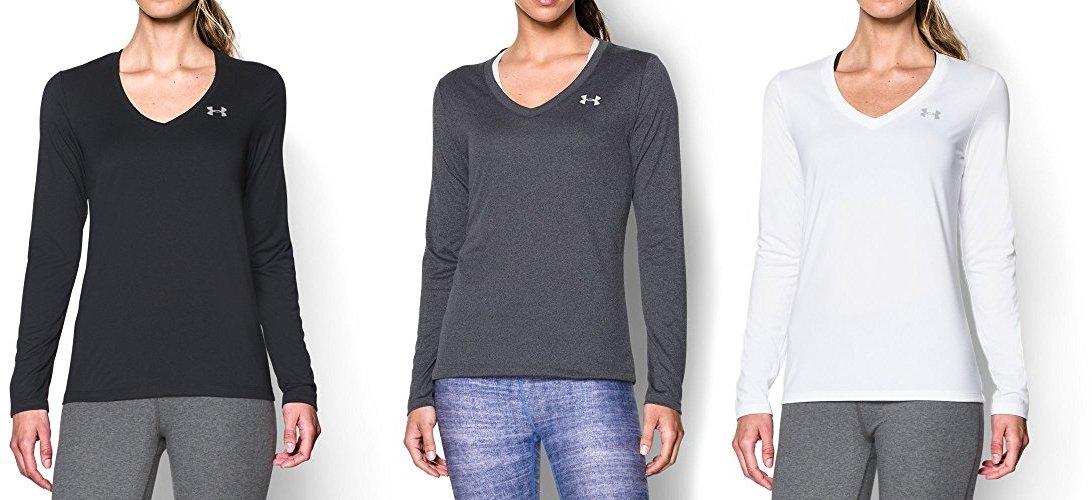 Under Armour Women's Tech Long Sleeve, Black/Metallic Silver, Medium