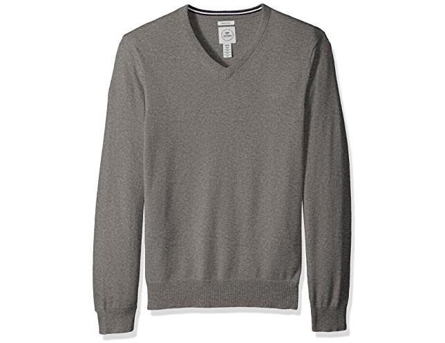 Dockers Men's Long Sleeve V-Neck Cotton Sweater, Medium Grey $24.99 (reg. $78.00)