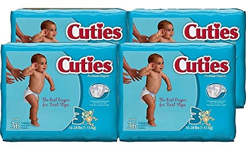 Cuties Baby Diapers, Size 3, 36-Count, Pack of 4 $12.15 (reg. $34.00)