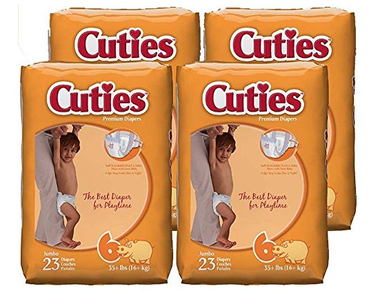 Cuties Baby Diapers, Size 6, 23-Count, Pack of 4 $7.76 (reg. $8.19)