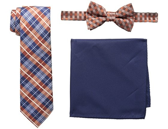 Nick Graham Men's Plaid Neck Tie, Gingham Bow Tie and Pocket Square Set, Orange, One Size $7.00