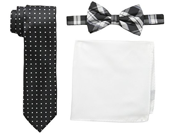 Nick Graham Men's Plaid Neck Tie with Polka Dot Bow Tie and Solid Pocket Square, Multi, One Size $14.23 (reg. $14.91)