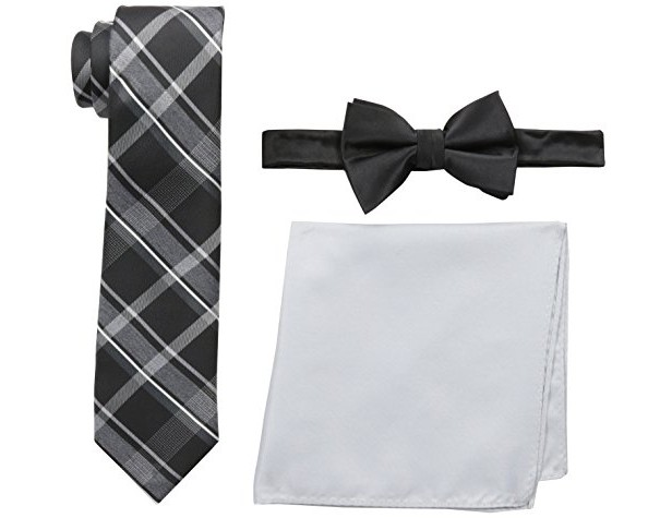 Nick Graham Men's Necktie, Bow Tie and Pocket Square Set, Black, One Size $7.43