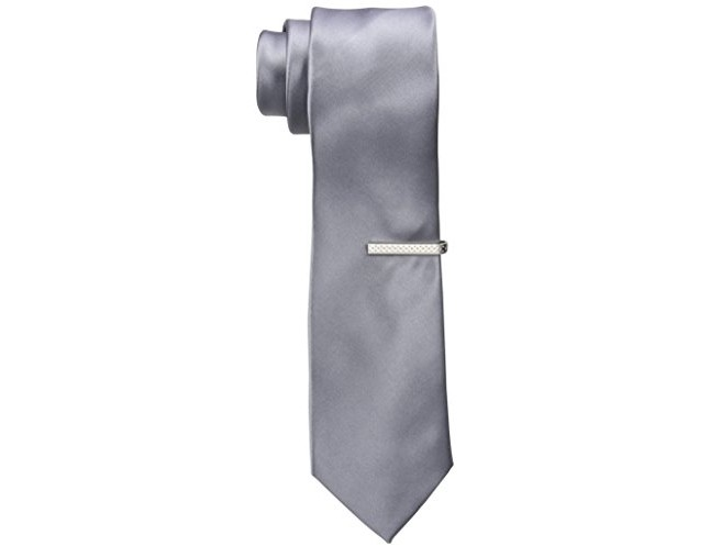 Nick Graham Men's Solid Satin Neck Tie, Silver, One Size $9.58 (reg. $10.08)