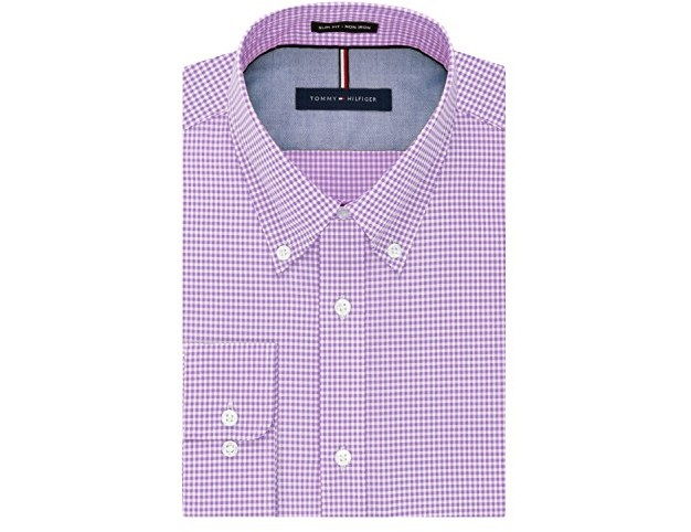 Tommy Hilfiger Men's Non Iron Slim Fit Gingham Buttondown Collar Dress Shirt, Iris, 17.5\