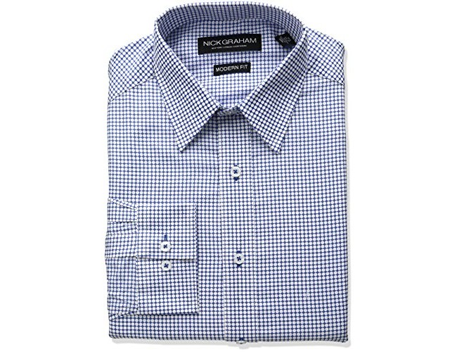 Nick Graham Men's Dress Shirt, Light Blue (Dot), 14\