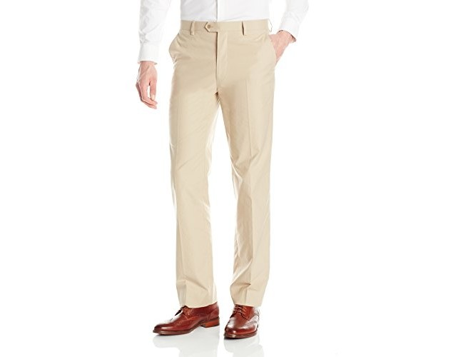 Tommy Hilfiger Men's Flat Front Stretch Dress Pant, Khaki, 32W x 30L $19.91 (reg. $20.96)