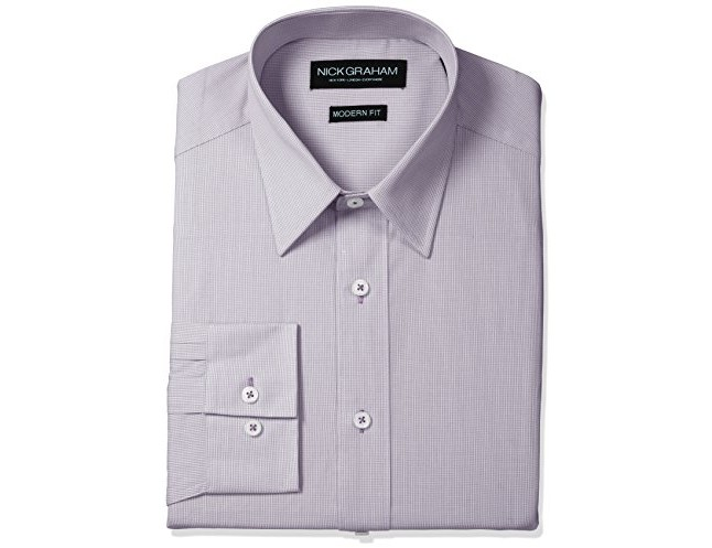 Nick Graham Men's Micro Check Cotton Dress Shirt, Purple, Small/L 14.5/15\