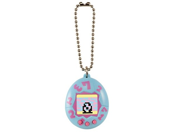 Tamagotchi Toy on a Chain with One Cr2303 Battery Electronic Game (2 Piece), Blue with Pink $15.52