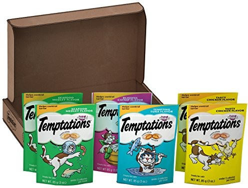 TEMPTATIONS Classic Treats for Cats Feline Favorites 3 Ounces (6-Pouch Variety Pack); Holiday Cat Gift Pack for the Feline in Your Family $5.47 (reg. $10.99)
