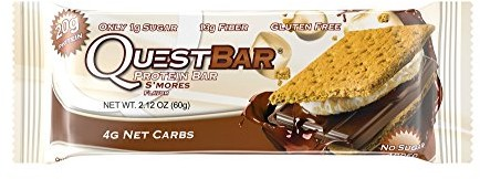 Quest Nutrition Protein Bar, S'Mores, 21g Protein, 4g Net Carbs, 190 Cals, 2.1oz Bar, 12Count, High Protein, Low Carb, Gluten Free, Soy Free $0.00