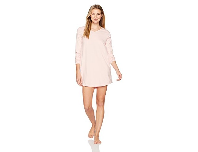 The Slumber Project Women's Long Sleeve V-Neck Cotton Nightshirt Medium Chalk Pink $28.95