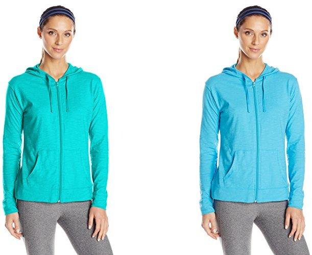 Hanes Women's Jersey Full Zip Hoodie, Eco Teal, Large