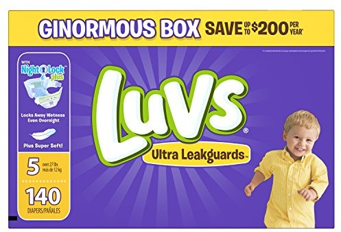 Luvs Ultra Leakguards Disposable Diapers Size 5, 140 Count, ONE MONTH SUPPLY $19.98 (reg. $35.99)