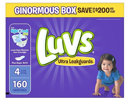 Luvs Ultra Leakguards Disposable Diapers Size 4, 160 Count, ONE MONTH SUPPLY $19.98 (reg. $35.99)