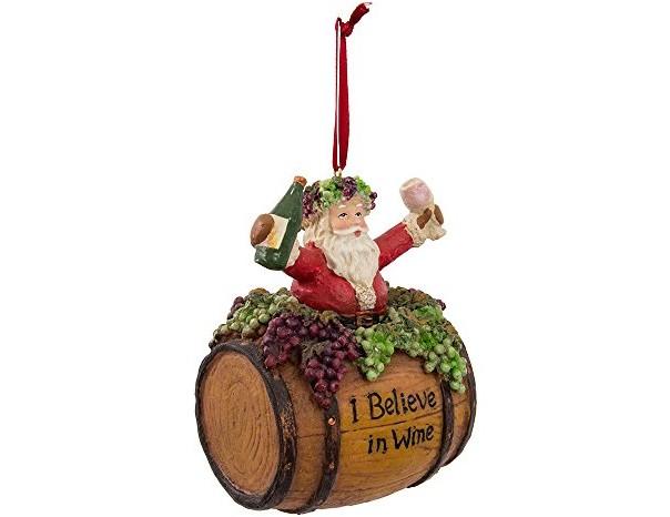 Kurt Adler 4-Inch Polyresin Santa on Wine Barrel Ornament