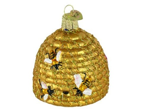 Old World Christmas Ornaments: Bee Skep Glass Blown Ornaments for Christmas Tree
