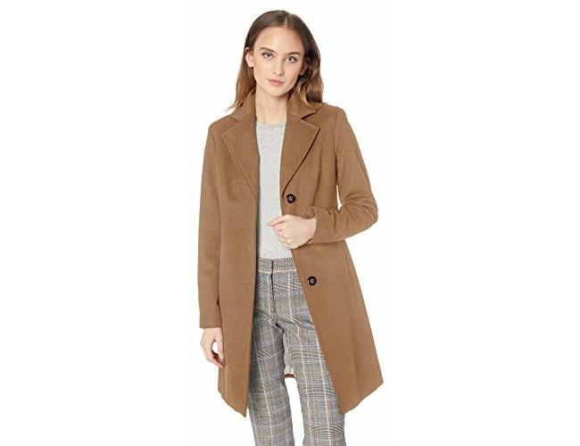 Calvin Klein Women's Classic Cashmere Wool Blend Coat, Camel, 8