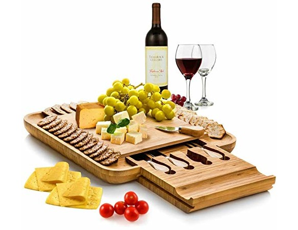 Bambüsi Bamboo Cheese Board Set - Wooden Serving Tray and Charcuterie Platter with Cutlery Set   Perfect Mother's Day Gift Idea