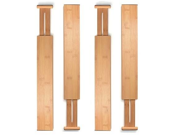 Drawer Dividers Bamboo Kitchen Organizers - Spring Adjustable & Expendable   Best for Kitchen, Dresser, Bedroom, Baby Drawer, Bathroom, and Desk. (Set of 4)