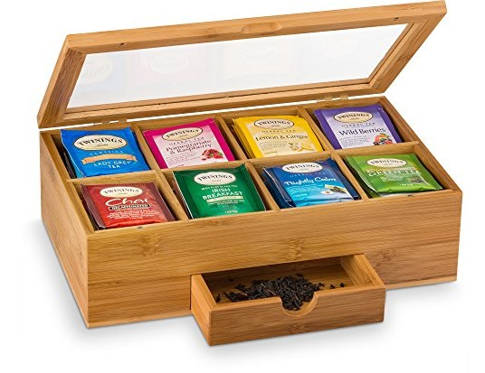 Bamboo Tea Box Organizer Chest - 8 Compartments Tea Bag Holder Storage Organizer with Small Drawer   Great Mothers Day Gift Idea
