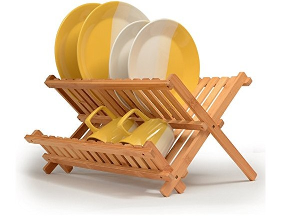 Bambüsi Bamboo Dish Drying Rack - Wood Kitchen Dishes Rack & Plate Holder   Compact & Collapsible Dish Drainer