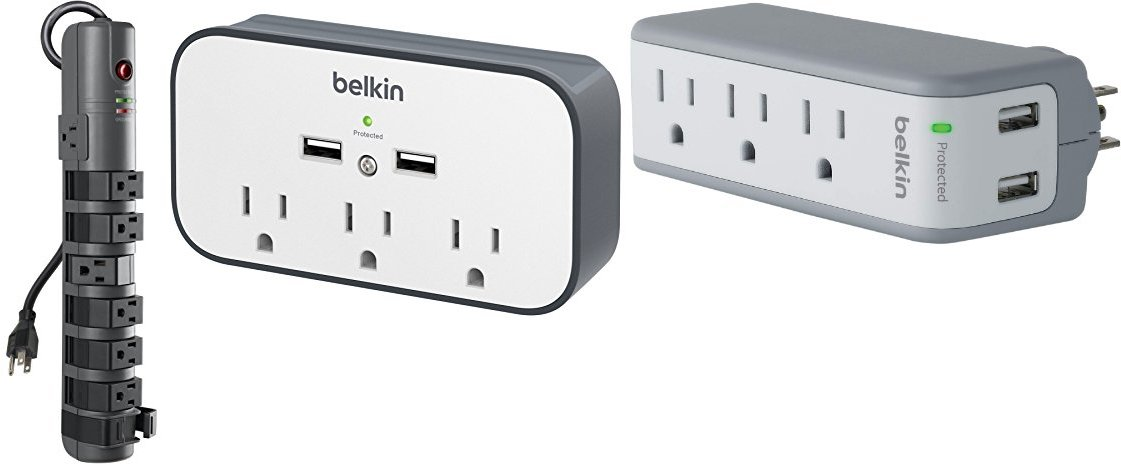 Belkin 8-Outlet Pivot-Plug Power Strip Surge Protector with 6-Foot Power Cord and Telephone Protection, 1800 Joules (BP108200-06)