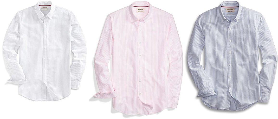 Goodthreads Men's Slim-Fit Long-Sleeve Stripe Oxford Shirt, Grey Castlerock Large