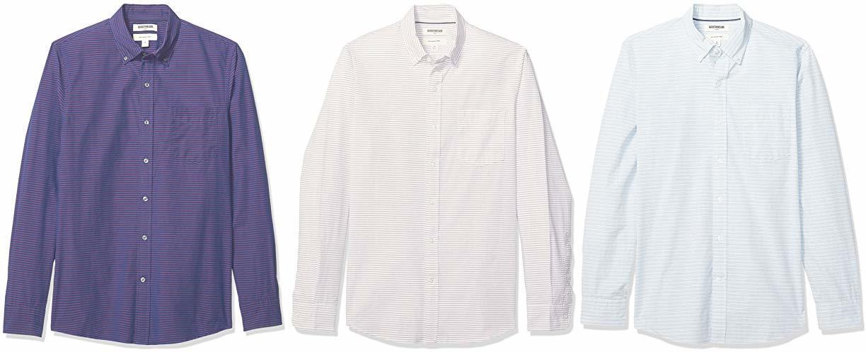 Goodthreads Men's Slim-Fit Long-Sleeve Poplin Shirt, Navy Red Horizontal Stripe, Medium
