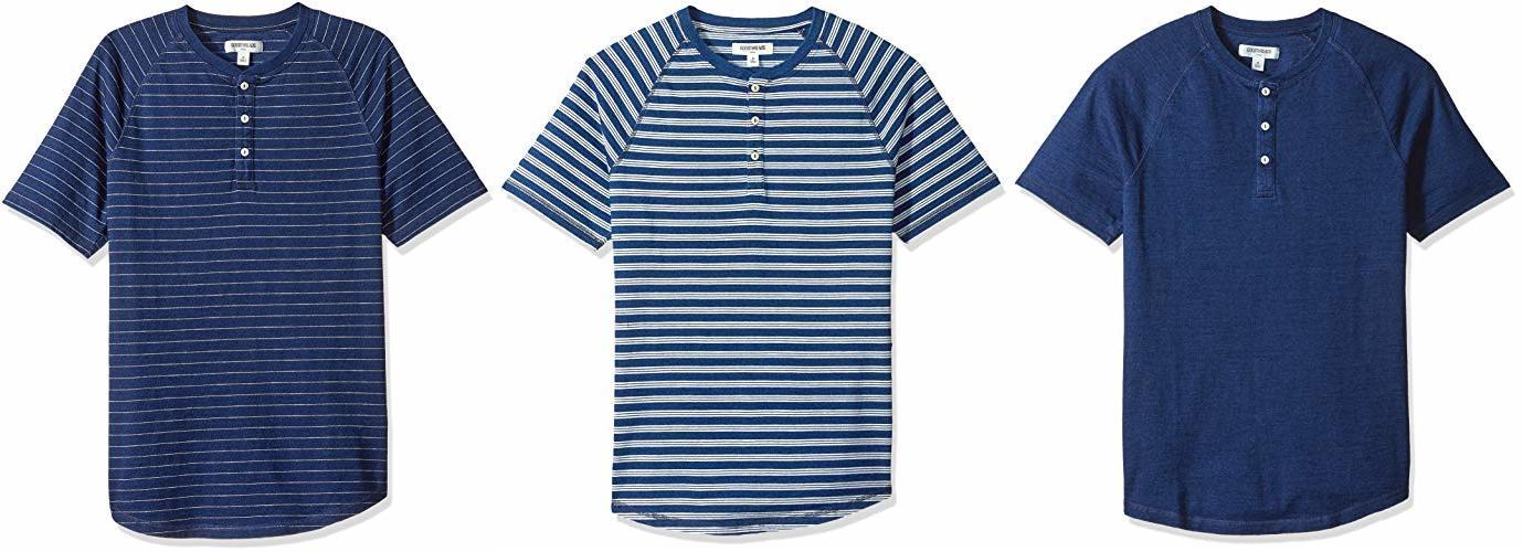 Goodthreads Men's Short-Sleeve Indigo Henley, Dark Narrow Stripe, Medium