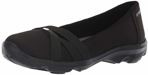 Crocs Women's Busy Strappy Flat Pump, Black/Slate Grey