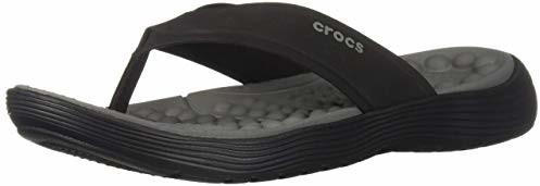 Crocs Men's Reviva Flip Flop, Black/Slate Grey