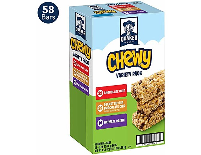 Quaker Chewy Granola Bars, 3 Flavor Variety Pack (58 Bars)