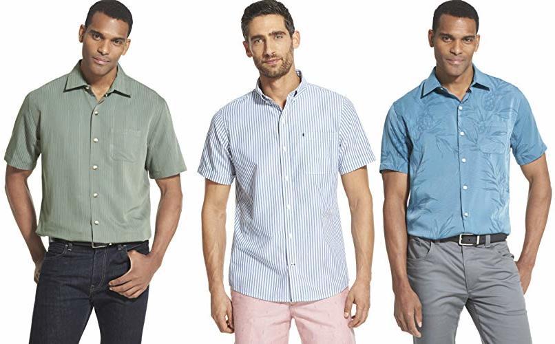 Van Heusen Men's Air Short Sleeve Button Down Poly Rayon Stripe Shirt, Green deep Forest, Large