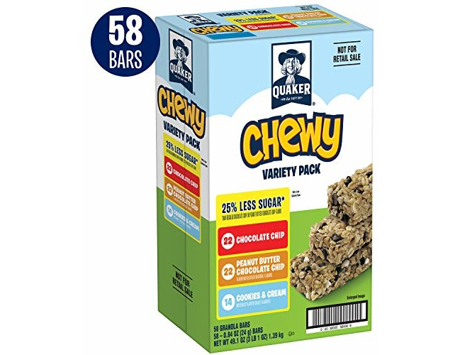 Quaker Chewy Granola Bars, 25% Less Sugar, Variety Pack, 58 Bars